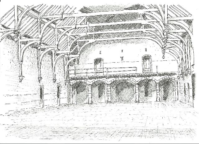 sketch of interior of corn exchange