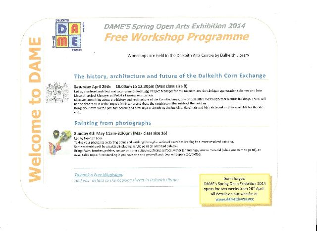 front cover gf DAME spring workshop programme